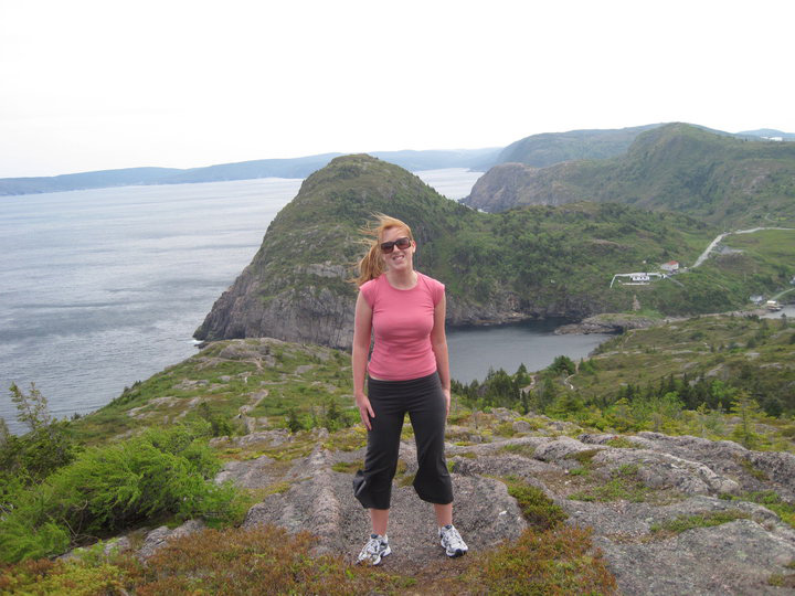 The author on a cliff overlooking Quidi Vidi Village. Photo by Candice Walsh.
