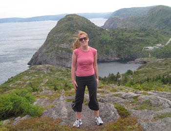 The author on a cliff overlooking Quidi Vidi Village.