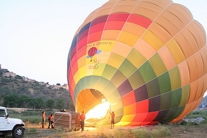 Inflating a hot-air balloon in Jaipur, India