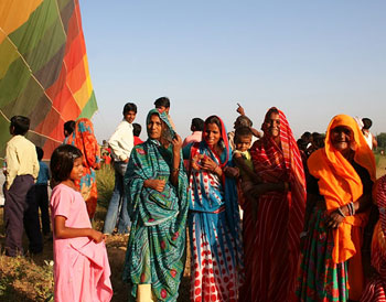 Ladies near the balloon after the landing in Kanota Village. Photo by Mridula Dwivedi.