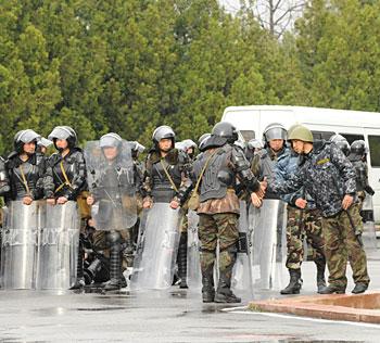 Riot police in Bishkek, the capital of Kyrgyzstan in April, 2010