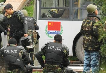 Police in Bishkek, Kyrgyzstan, during the uprising in April, 2010