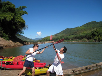 Kayaking and having fun on the Nam Ou River, Laos. photos by Christine Horvat.