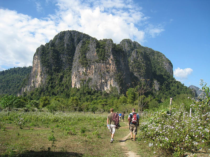 Hiking to the rock climbing area near Vang Vieng, Laos