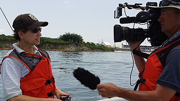 Susan Morse being interviewed on a boat off the Louisiana coast in June 2010 in response to the Deepwater Horizon oil spill in the Gulf of Mexico.