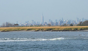 View of Jamaica Bay with NYC off in the distance.