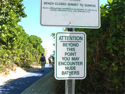 You will encounter nude bathers at Haulover Beach.