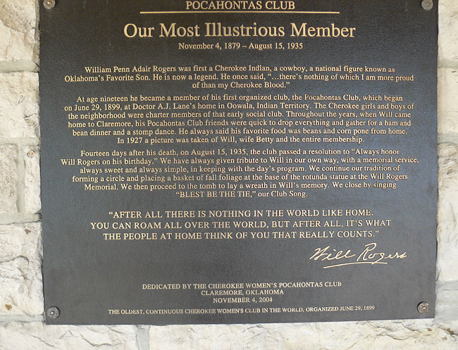 A plaque presented by the Pochahantas Club at the Will Rogers Memorial