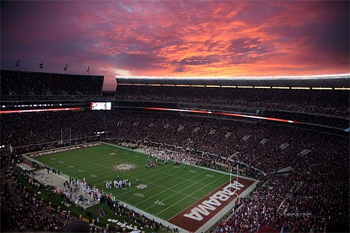 The football stadium at the University of Alabama in Tuscaloosa, AL. photo by Paul Shoul.