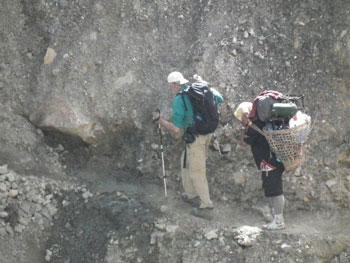 Caution: very narrow ledge