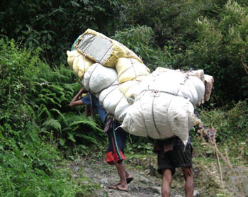 Typical loads for Nepalese porters