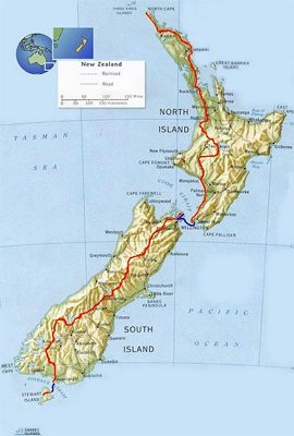 Map of the long trail down the length of New Zealand.