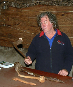 Brad West wields a boomerang, used to kill wallabies and flying ducks. He is an interpretive guide at the Cape Otway Light Station along the walk.