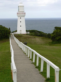 The iconic Cape Otway lighthouse, once a beacon to ships at sea.