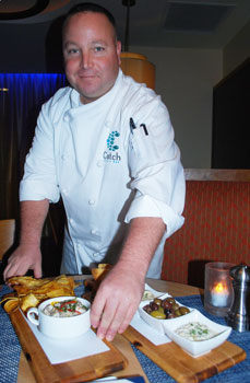 Chef Joe Natoli serving up appetizers at the Catch Grill & Bar