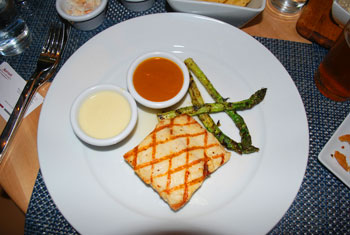 Pan-seared mahi mahi with lemon cream sauce and mango habanero sauce - yummy!