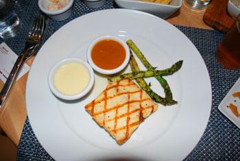 Pan-seared mahi mahi with lemon cream sauce and mango habanero sauce - yummy!
