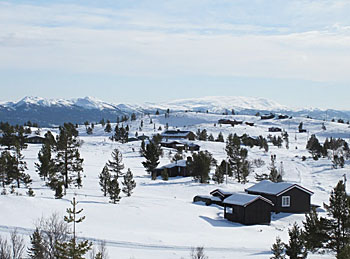 Cabins in Rondane landscape