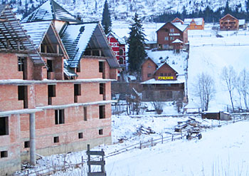 Many hotels are being built in the area surrounding Bukovel.