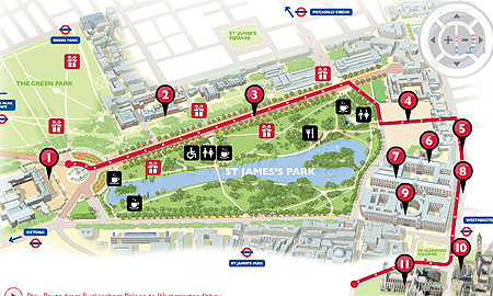 The royal wedding parade route for Friday April 29 in London.
