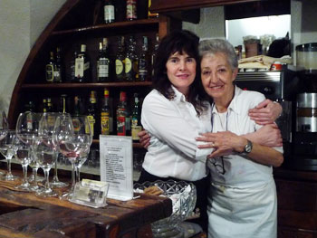 The owner with our waitress at Du Grand Pere Ristorante in Sestriere