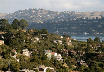 Million dollar homes in Sausalito, California, across the bridge from San Francisco.