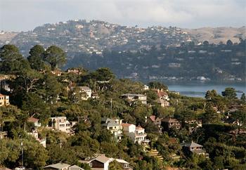 Million dollar homes in Sausalito, California, across the bridge from San Francisco.