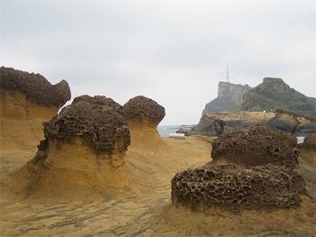 Rocks at the Yehliu Geopark.