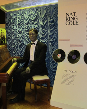 Nat King Cole figure at the Alabama Music Hall of Fame.