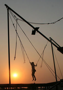 A bungee trampoline at Della Adventure. Photos by Mridula Dwivedi.