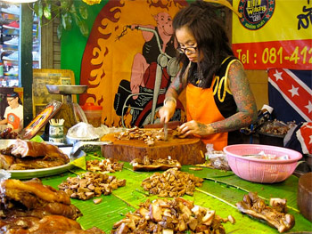 Got Pork? Twenty-five ways to cook pork at the Chatuchak Market in Thailand.