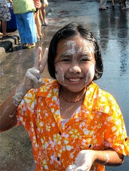 Songkran participant in Thailand.