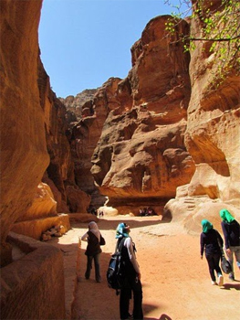 The Siq Walkway, on the way to Petra, Jordan. Photos by Robert Painter.