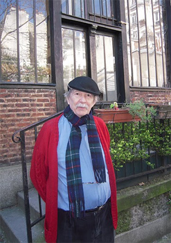 Jim Haynes outside his Paris residence.