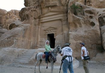Darley gets ready for a shoot at Little Petra in Jordan.