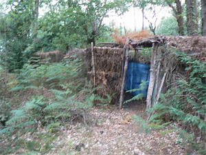 The camouflaged lodge of the Palombiere.