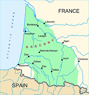 Gascony is in Southwest France. This story was about a palombiere in Lot-en-Garonne, in the center of the green area.