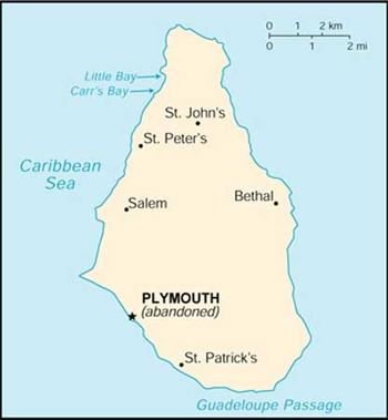 Map of Montserrat showing abandoned Plymouth.