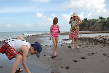 Collecting pummice on Monserrat.