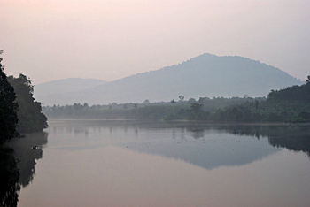 The Periyar River, bathed in fog