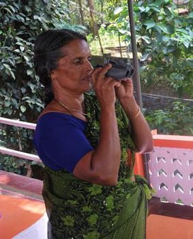 Sudha with her binoculars