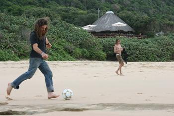 Soccer on the beach.