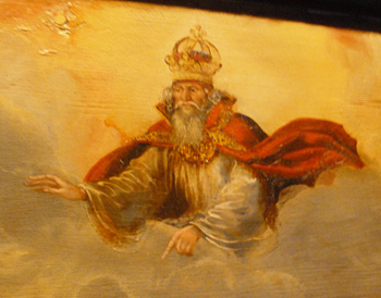 A rendering of God Almighty in one of the tomb paintings on display at the Luther Birth House in Eisleben.