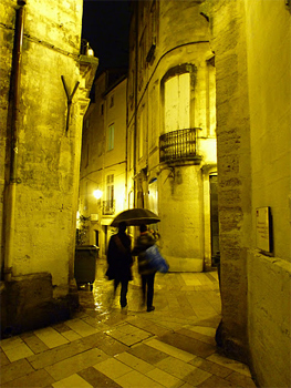 Montpellier, home to many great contemporary art museums, at night. photos by Kent St. John.
