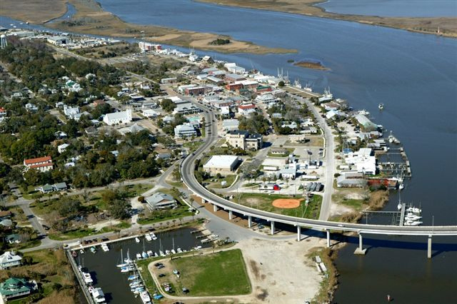 Apalachicola, Florida from the air.