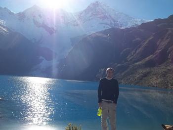 At the base of a glacier in Peru's Cordillera Blanca.