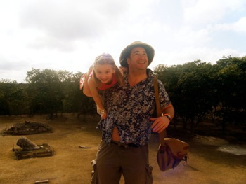 Jon and Loulou ascend a Mayan Pyramid.