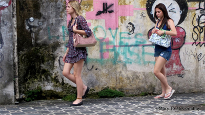 Street scene in Sao Paulo, Brazil, photos by Mary Jo McConahay.