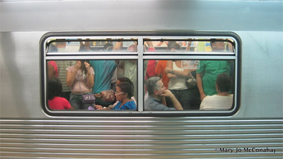 Riding the subway in Sao Paulo Brazil.