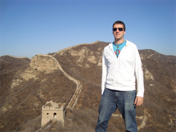 Michael Kliewer with the Great Wall behind him.